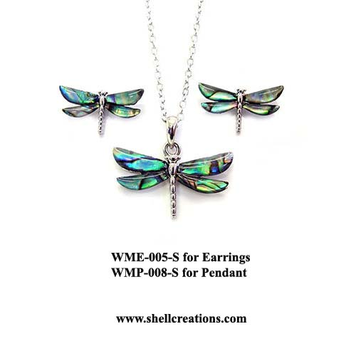 W005-008 Paua Shell Dragonfly Set