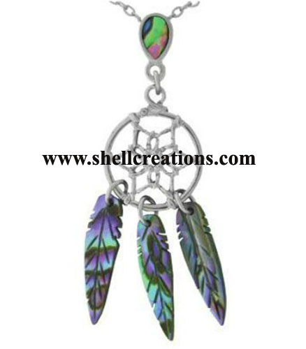 SC-041 Genuine Paua Shell Dream Catcher Necklace