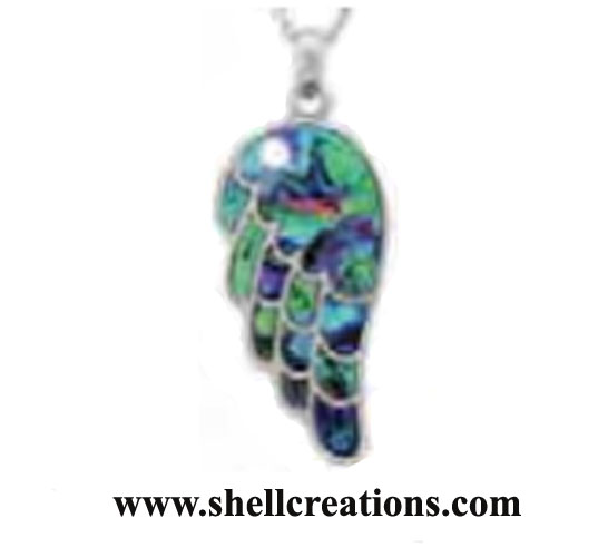 SC-195 Genuine Paua Shell Angel Wing Necklace