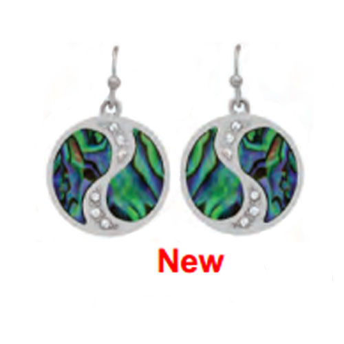 SC-WME-178 Paua Shell YinYang Earrings