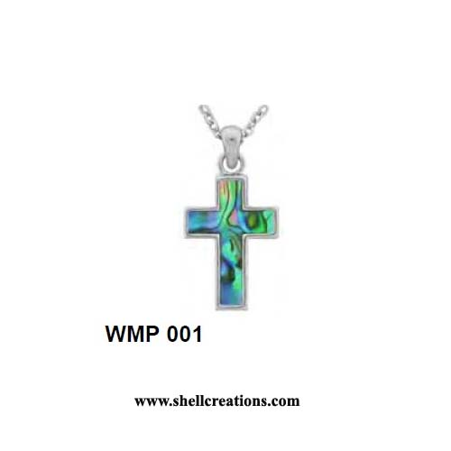 "SMP 001 Paua Shell Cross Necklace on 18"" Rhodium Silver Chain"