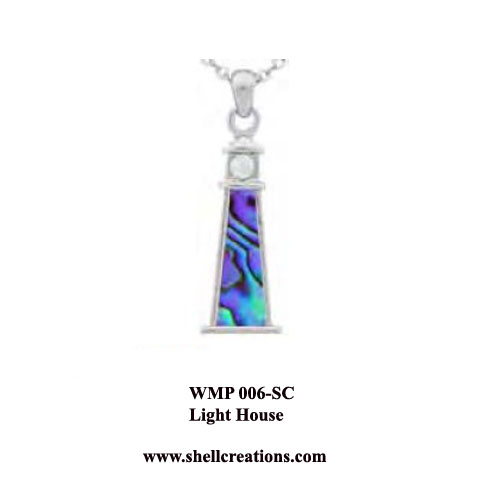 WMP 006 SC Paua Shell Lighthouse and CZ Necklace